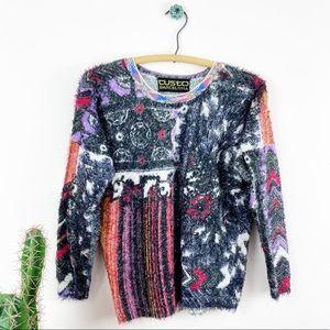 Rad Y2K Custo Barcelona Fuzzy Art Graphic Sweater